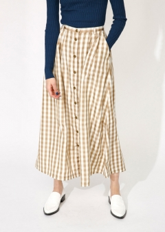 GINGHAM CHECK LONG SKIRT