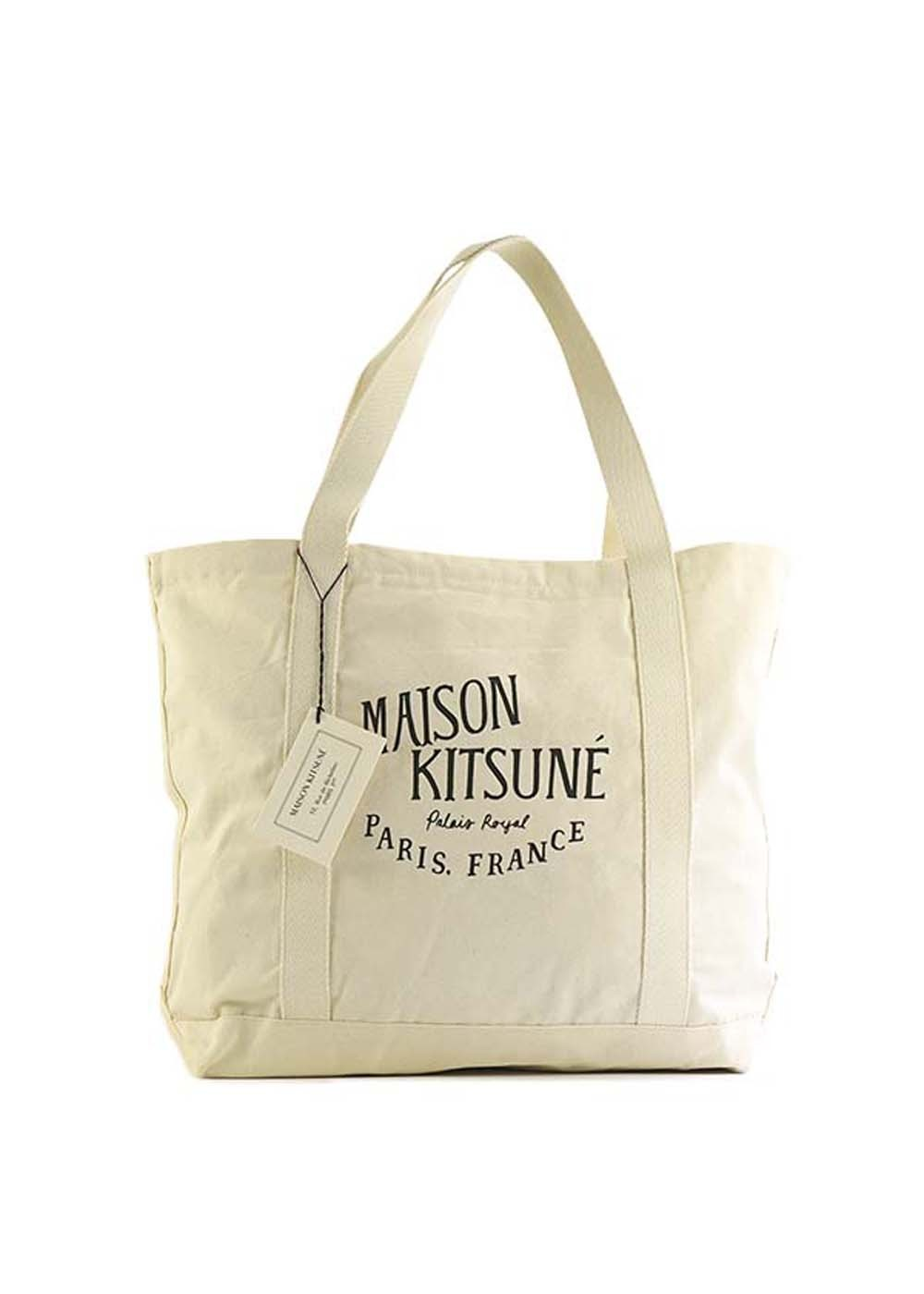 【最大35%OFF】【1番人気】SHOPPING BAG PALAIS ROYAL|ECRU BLACK|トートバッグ|MAISON KITSUNE(C)