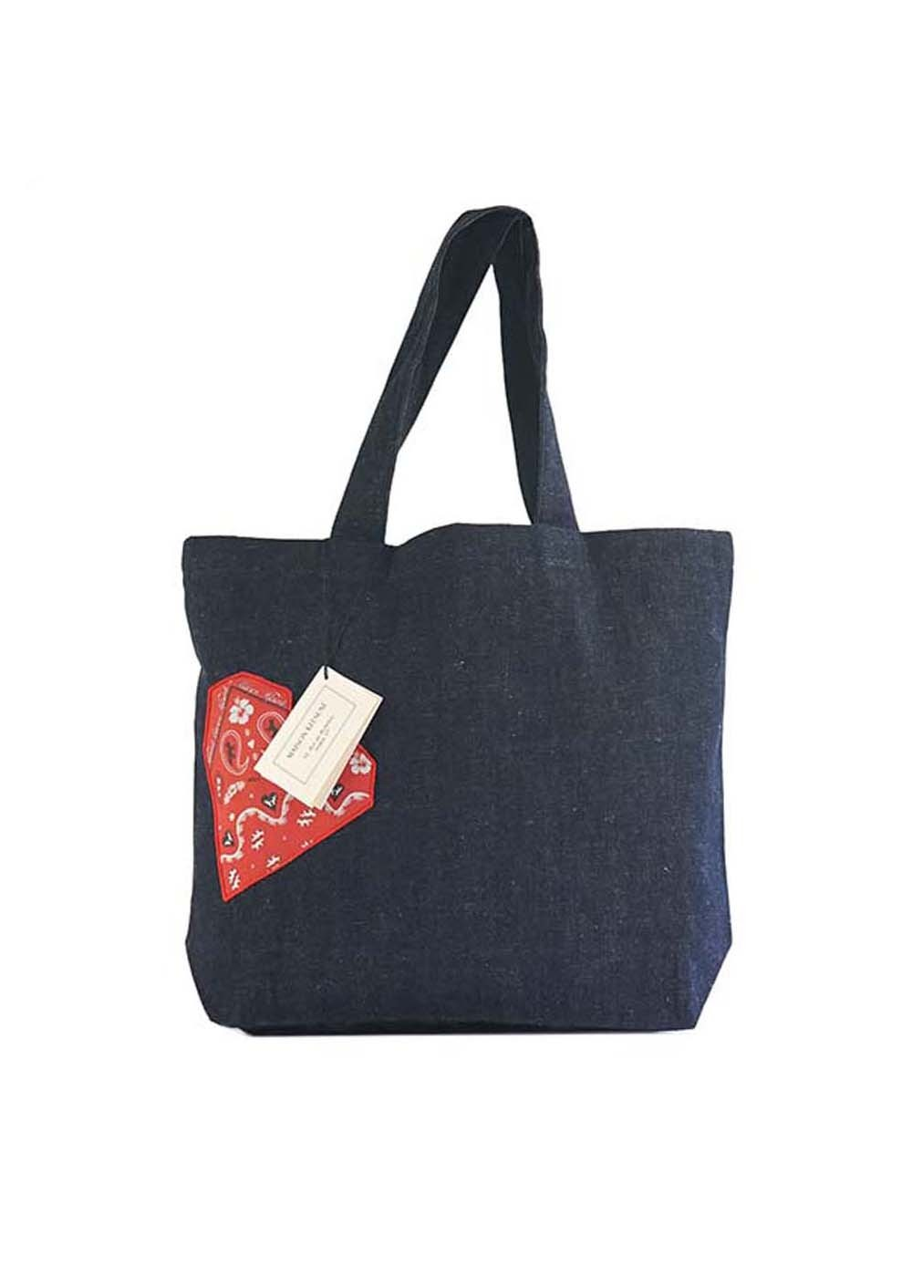【最大35%OFF】TOTE BAG BANDANA HEART|NAVY MELANGE|トートバッグ|MAISON KITSUNE(C)