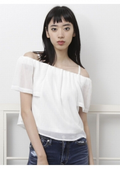EMODA - SHEER OFF SHOULDER TOP
