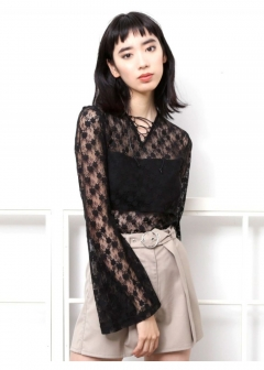 EMODA - LACE FLARE TOPS