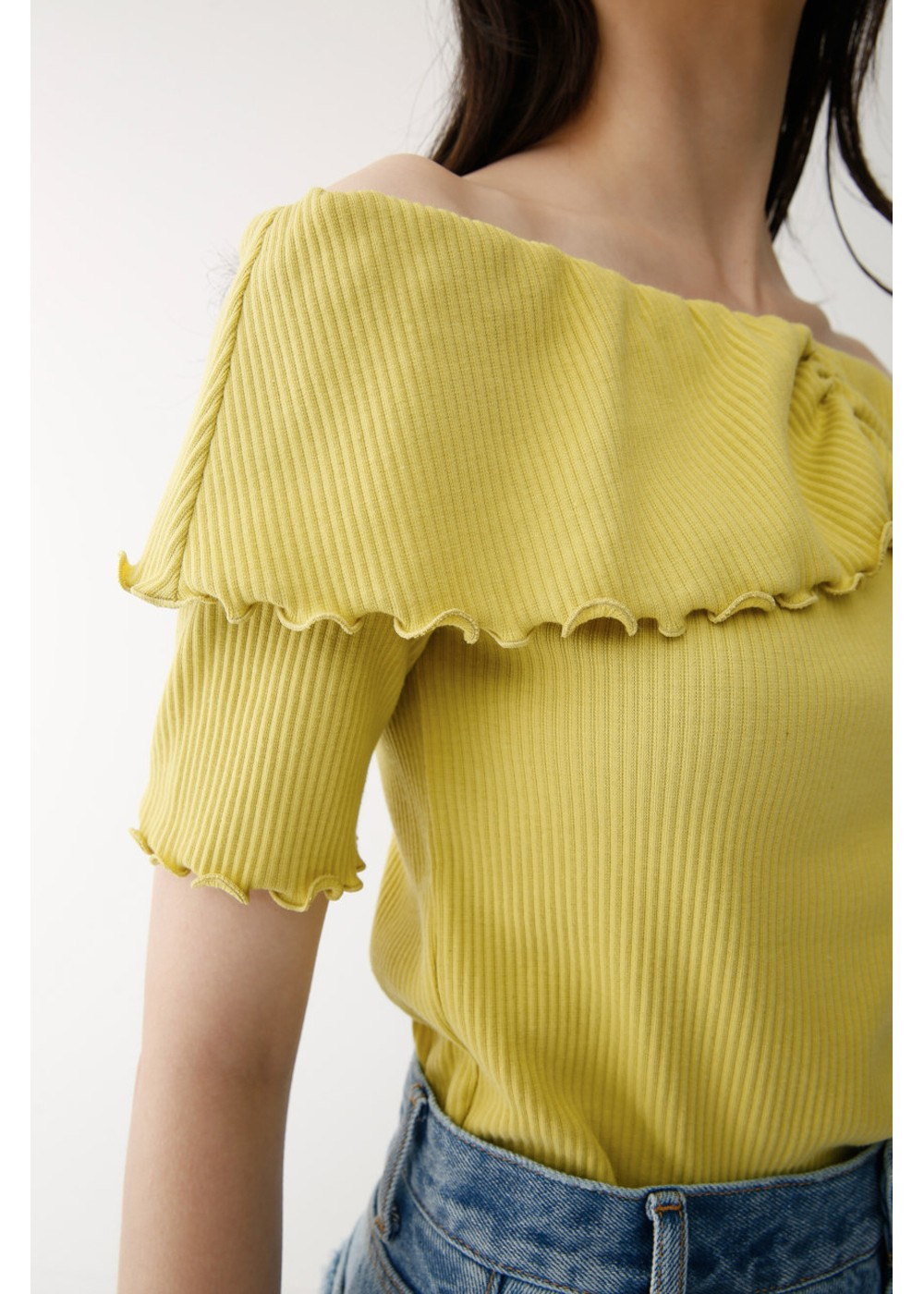 【最大70%OFF】MELLOW RIB OFF SHOULDER TOP|YEL|カットソー|MOUSSY