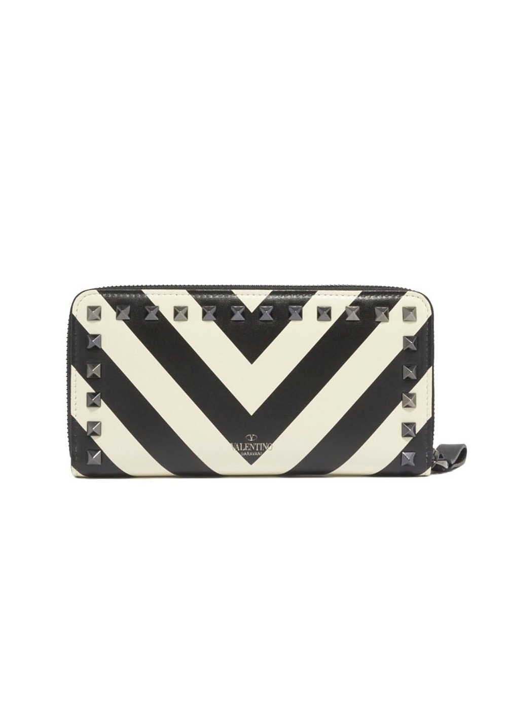 【最大32%OFF】ROCK STUDS ZIP WALLET|LIGHT IVORY/BLACK|レディース財布|VALENTINO_(TI)