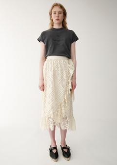 LACE RUFFLE WRAP SKIRT