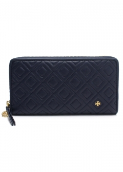 QUILTED LEATHER ZIP CONTINENTAL WALLET