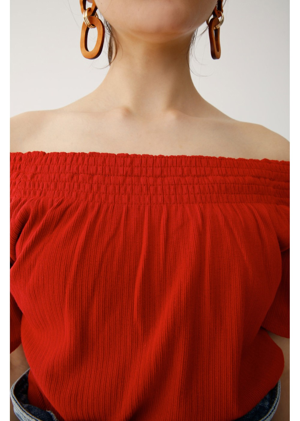 【最大70%OFF】RIB STITCH OFF SHOULDER TOP|RED|カットソー|MOUSSY