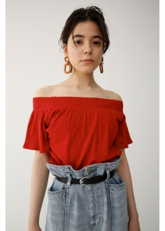RIB STITCH OFF SHOULDER TOP