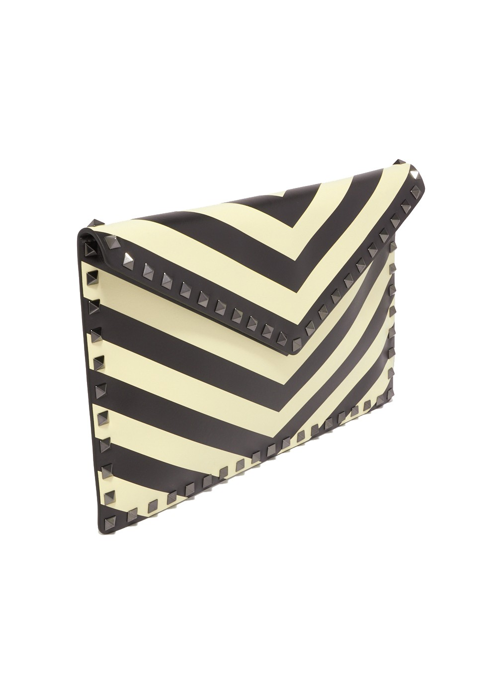 【最大32%OFF】ROCKSTUD CHEVRON CLUTCH|LIGHT IVORY/NERO|クラッチバッグ|VALENTINO_(TI)
