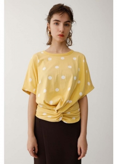 【最大70%OFF】FRONT TWIST POLKA DOT TOP|柄YEL|カットソー|MOUSSY