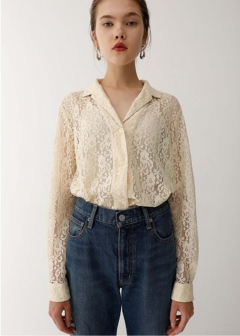 OPEN COLLAR LACE SHIRT