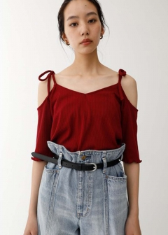 OPEN SHOULDER RIBBON TOP