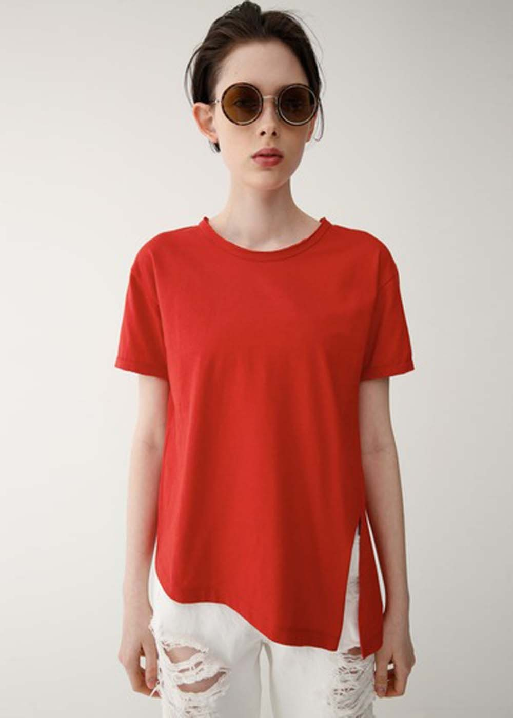 【最大70%OFF】ASYMMETRY SLIT TEE|L/RED|Tシャツ|MOUSSY
