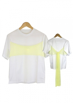 【MM6】Tシャツ 半袖 TEE W NET (961 WHITE/LIME)【S52GC0047-S22937】