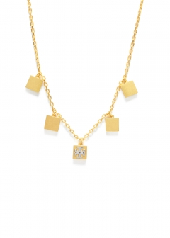 Tory Burch - BLOCK-T LOGO CHARM NECKLACE