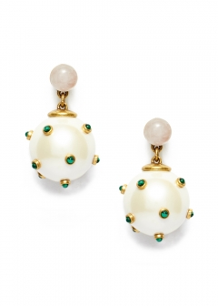 STUDDED STONE PEARL DROP EARRING