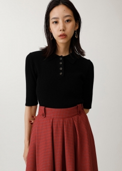 HALF SLEEVE POLO KNIT TOP