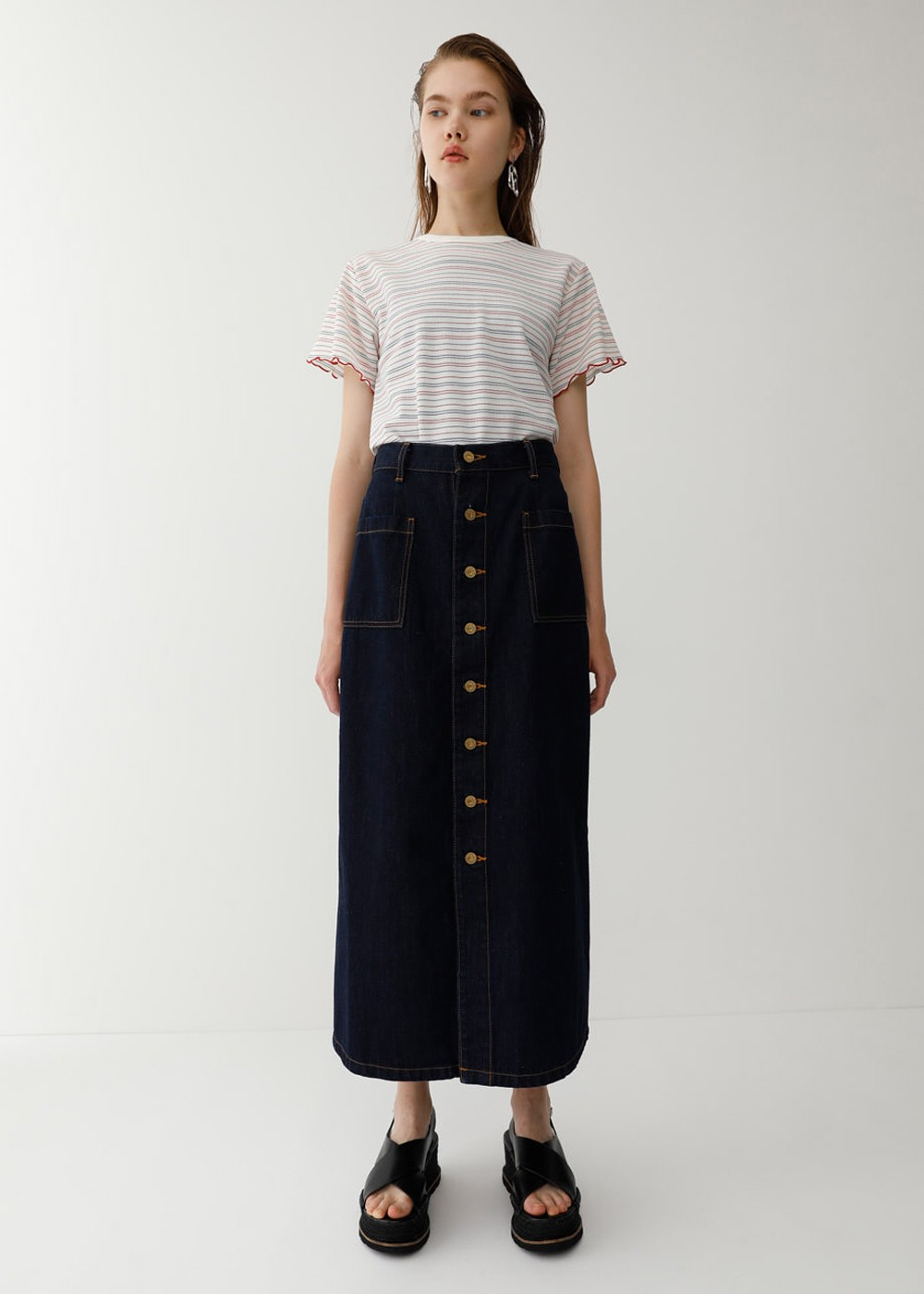 【最大60%OFF】BUTTON UP LONG SKIRT|One Wash|ロングスカート|MOUSSY