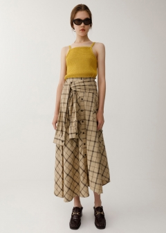 SLEEVE TIED CHECK SKIRT