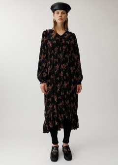 PLEATS FLOWER DRESS