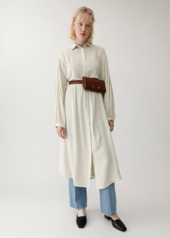DROP SHOULDER PIN TUCK DRESS