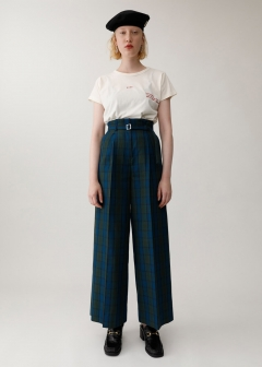 SHADOW CHECK BELTED PANTS