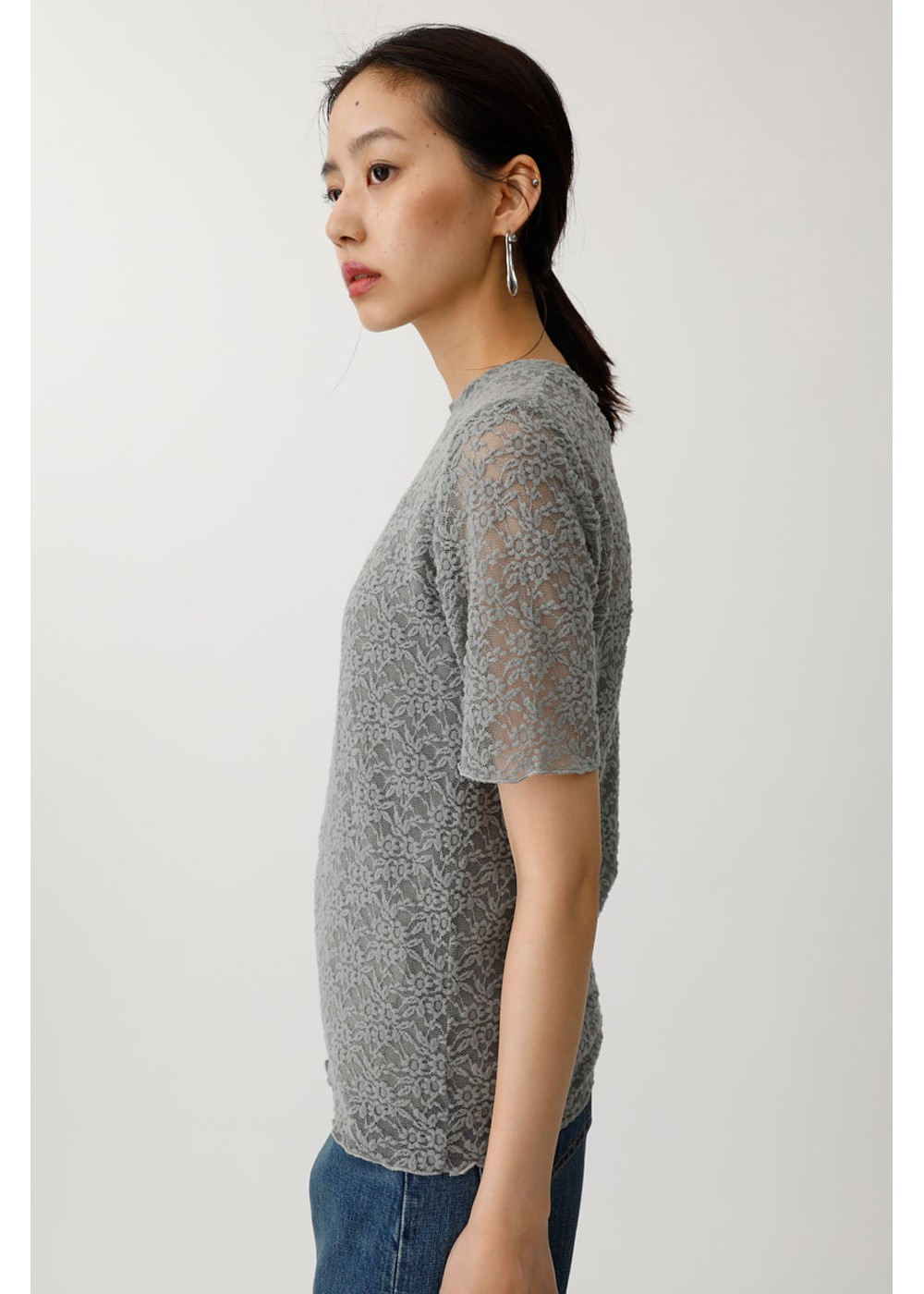 【最大70%OFF】STRETCH LACE H/N TEE|L/GRY|その他トップス|MOUSSY