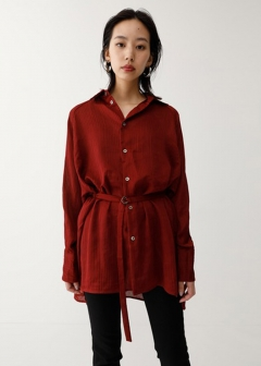 CREPE LOOSE LONG SHIRT