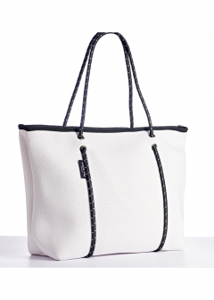 BOUTIQUE COLLECTION ZIP TOTES White