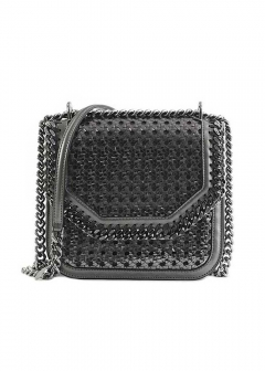 Stella McCartney - FALABELLA BOX MEDIUM METALLIC WICKER
