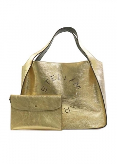 Stella McCartney - SMALL TOTE LOGO BAG METALLIC