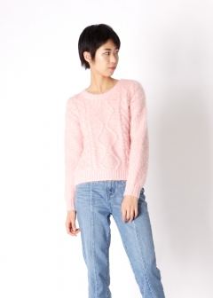 fluffy cable knit top