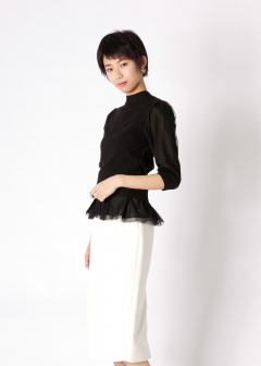 tulle frill back ribbon knit top