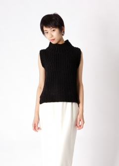 eimy istoire - chenille yarn stand-up collar knit t
