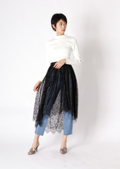 tulle lace layered skirt