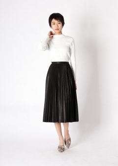 leather like pleats midi skirt