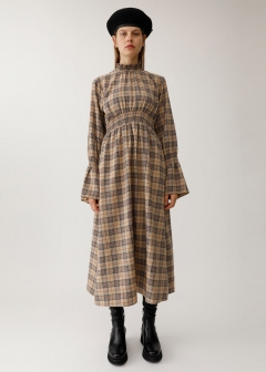 FLARE SLEEVE CHECK DRESS