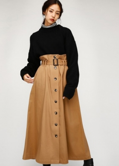 FRONT BUTTON LONG SKIRT