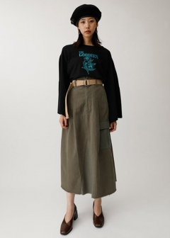 【最大60%OFF】BELTED MILITARY SKIRT|L/BRN|膝丈スカート|MOUSSY