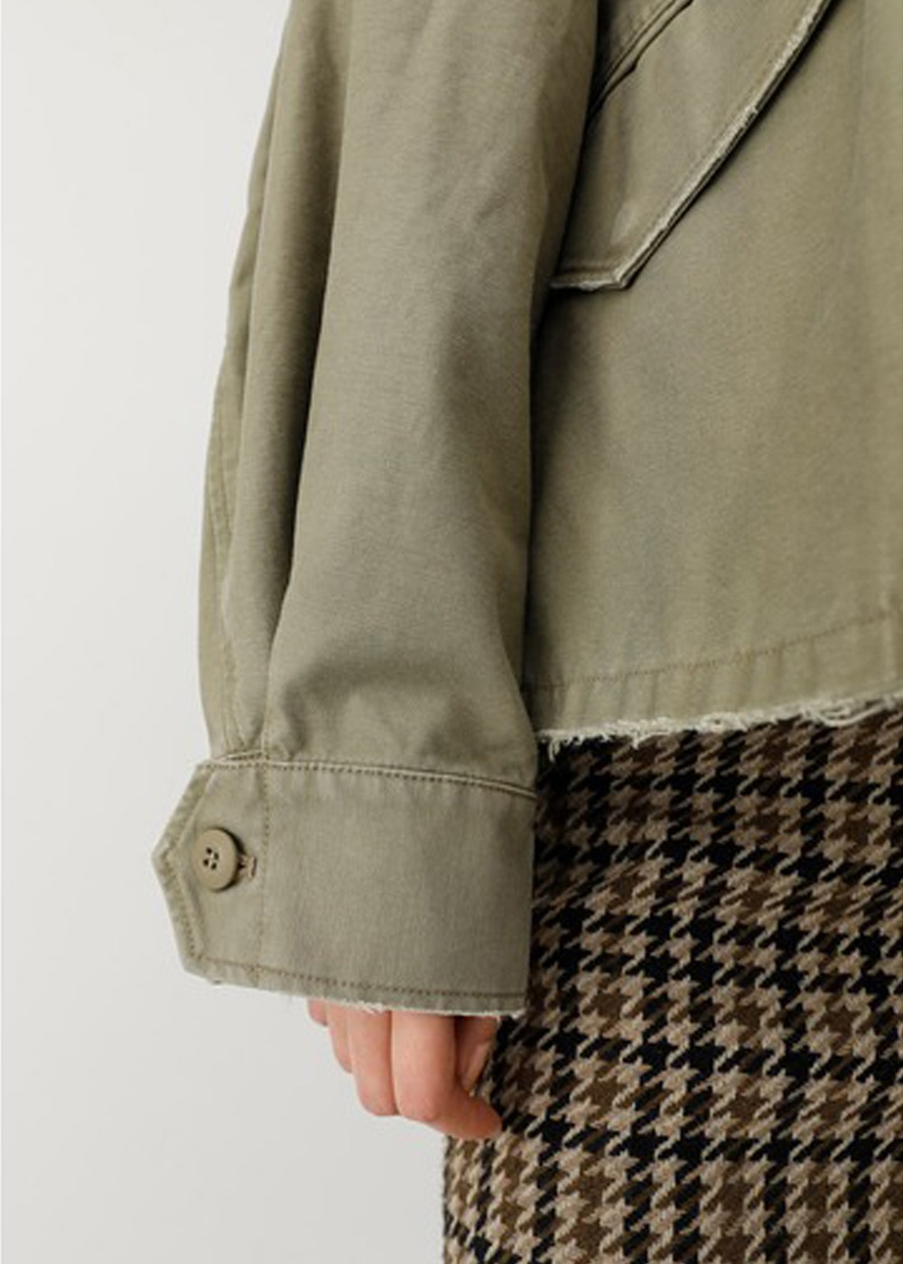 【最大60%OFF】COLLARLESS MILITARY JACKET|L/KHA|ミリタリージャケット|MOUSSY