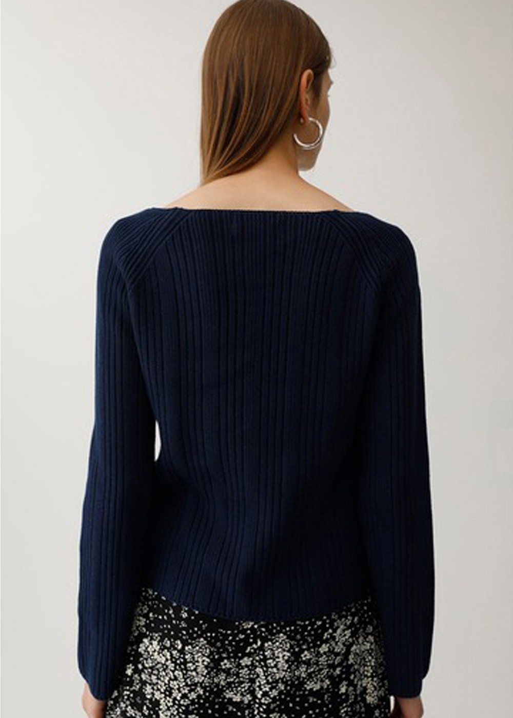 【最大60%OFF】SQUARE NECK RIB SWEATER|NVY|ニット|MOUSSY
