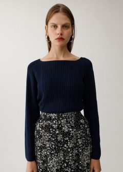 SQUARE NECK RIB SWEATER