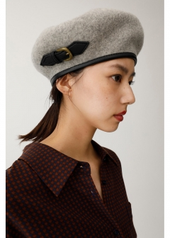 F/LEATHER BELT BERET