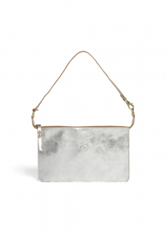 IL BISONTE - 薄型 クラッチバッグ メタリックカウハイドレザー CLUTCH 775/SILVER A2572
