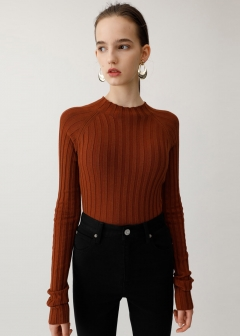 BOTTLE NECK L/S RIB KNIT