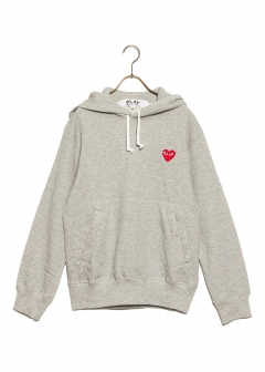COMME des GARCONS - PLAY HOODED SWEAT RED HEART