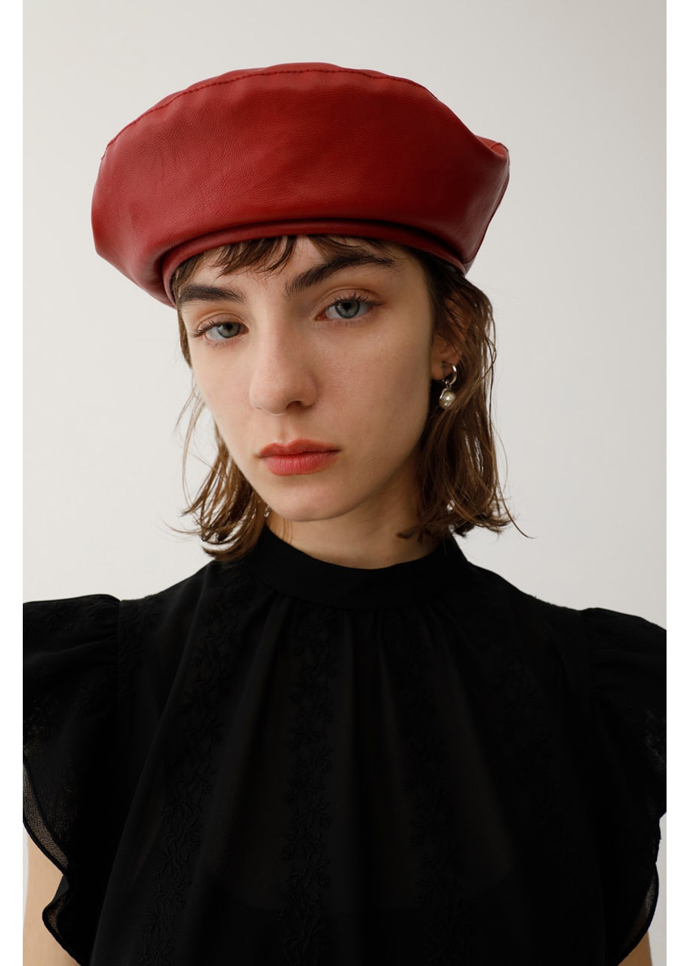 【最大60%OFF】FAUX LEATHER BERET|RED|ベレー|MOUSSY