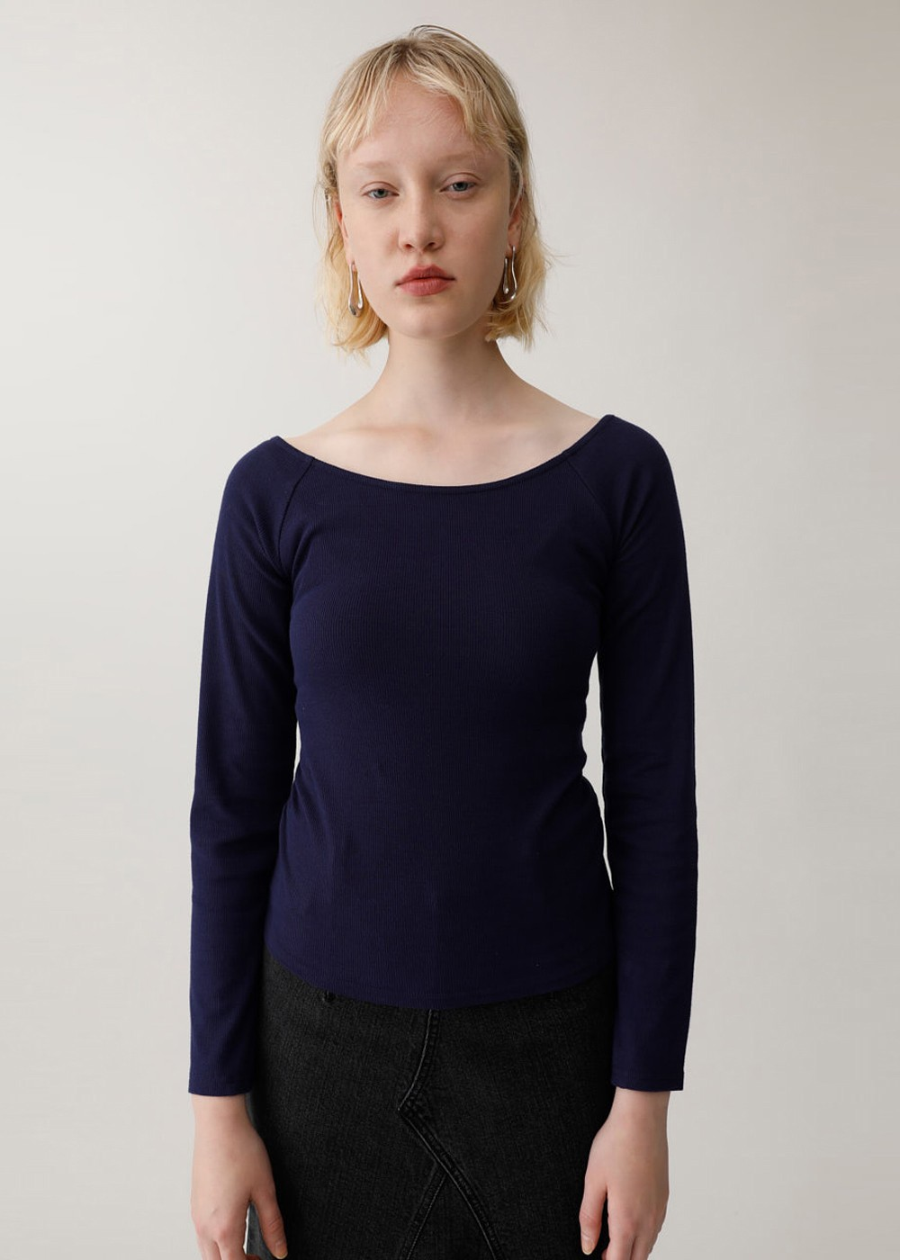 【最大60%OFF】BACK DRAPE CROSS TOP|NVY|カットソー|MOUSSY