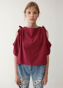 【最大60%OFF】SHOULDER OPEN CRAPE TOP|BLK|カットソー|MOUSSY