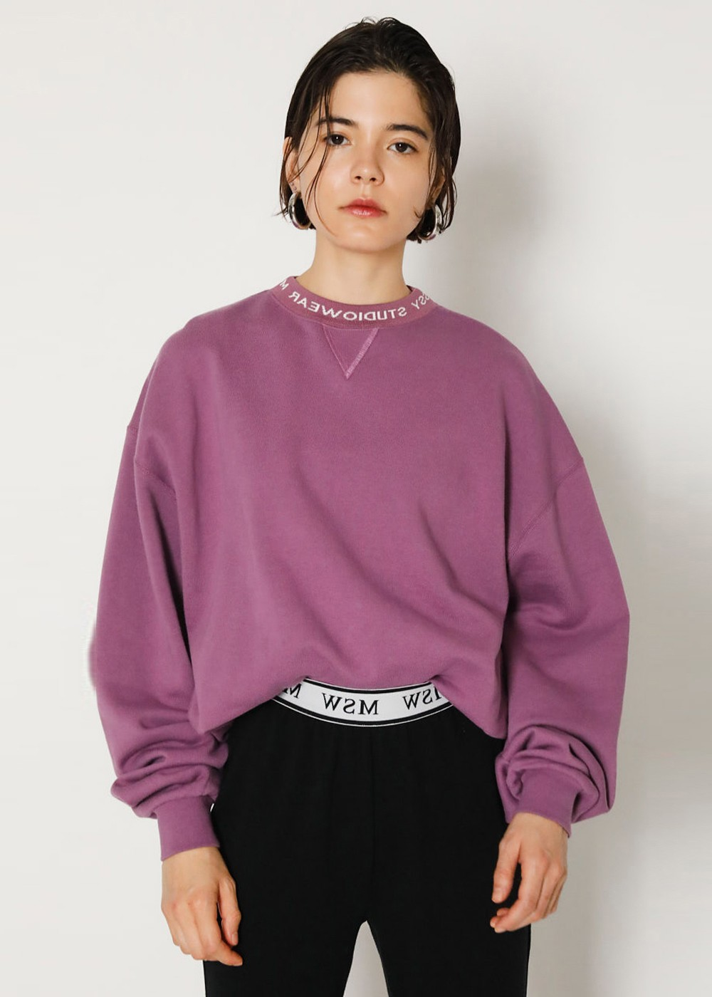【最大60%OFF】SW LOGO NECK POJ|PUR|カットソー|MOUSSY
