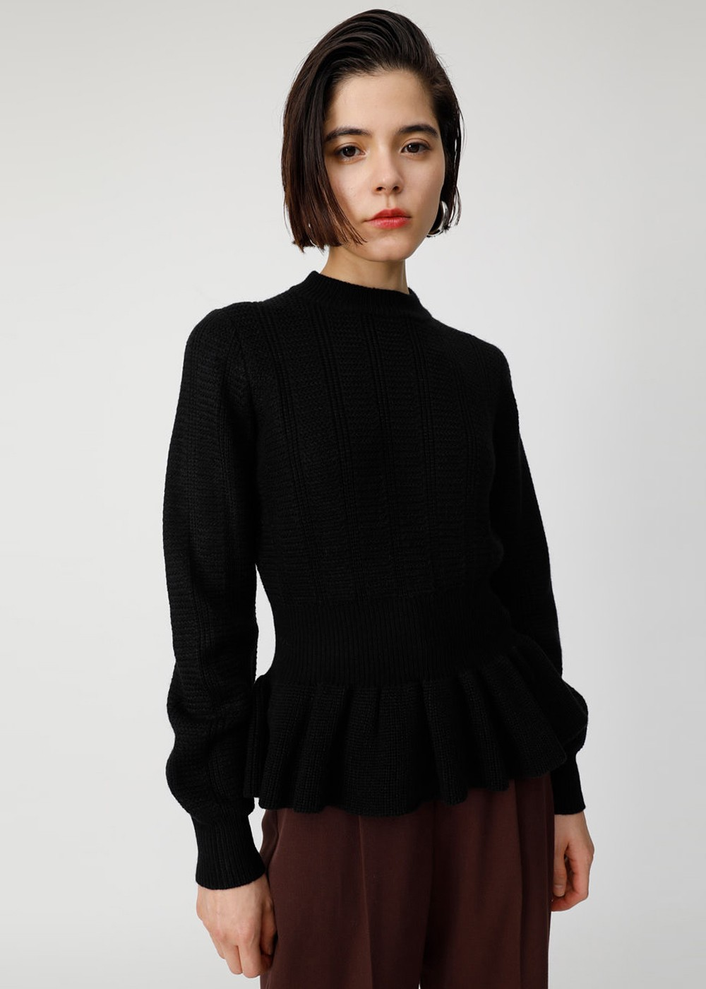 【最大60%OFF】BROAD STITCH PEPLUM KNIT|BLK|ニット|MOUSSY